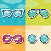 Glasses with reflection of different weather — Stockvektor