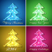 Set of glowing christmas trees — Stock Vector