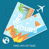 Hot tours travel tickets — Stock Vector