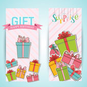 Colorful vintage gift banners — Stock Vector