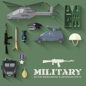 Military equipment  background . — Stock Vector
