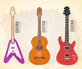 Different kinds of guitars — Stock Vector