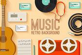 Vintage music studio equipment — Stock Vector