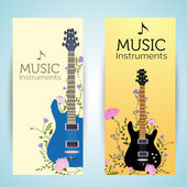 Flowers entwined guitars banners — Stock Vector