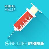 Medicína stříkačka — Stock vektor