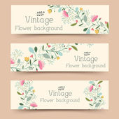 Retro flower banners — Stock Vector