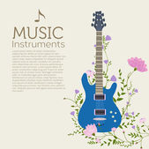 Flowers entwined guitar background — Stock Vector