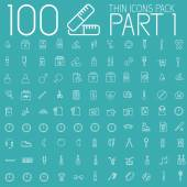 Set 100 thin lines icons pictogram — Stock Vector