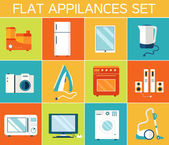 Flat modern appliances set icons — Stock Vector