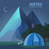 Night tourist camping — Stock Vector
