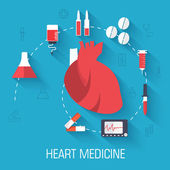 Heart with medical  equipment — Stock Vector