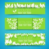 Flat eco leaf banners — Vetor de Stock