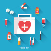 Set of first aid medical icons — Stock Vector