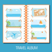 Flat travel photo album — Stock Vector