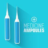 Flat medicine ampoules — Stock Vector