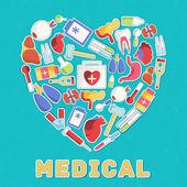 Medical equipment in  hear — Stock Vector