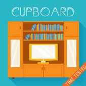 Flat cupboard in cozy room — Vecteur