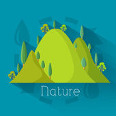 Flat eco nature mountains — Stock Vector