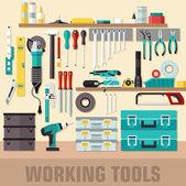 Set di strumenti di lavoro — Vettoriale Stock