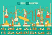 Retro experiments in a chemistry laboratory background — Vector de stock