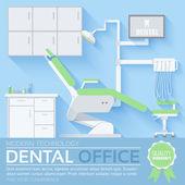 Düz diş hekimi office çizim tasarım arka plan — Stok Vektör