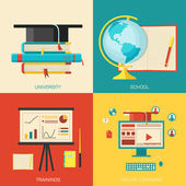 Education distance, online and academic school variations — Stock Vector