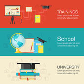 Education distance, online and academic school variations concep — Stock Vector