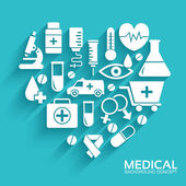 Medical equipment set in shape heart icons — Stock Vector