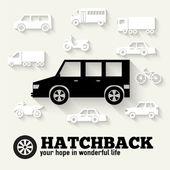 Flat hatchback car concept set icon backgrounds — Stock Vector