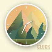 Flat colorful vector nature mountain clock — Stock Vector