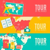 Tour of the world concept. Tourism with fast travel on a flat design style. Vector illustration — Stockvektor