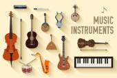Flat music instruments background concept. Vector illustrator design in retro style bright colors — Vecteur