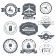 Travel set label template of emblem element for your product or design, web and mobile applications with text. Vector illustration with thin lines isolated icons on stamp symbol. — Stock Vector #71258833