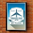 Travel by plane logo or label template  with blurred background on brick wall. Vector illustration with shape a ribbon isolated icons for your product or design, web and mobile applications with text. — Stock Vector #71259145