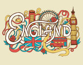 England art abstract hand lettering and doodles elements background. Vector illustration for colorful template for your design, web and mobile applications. — Stock Vector