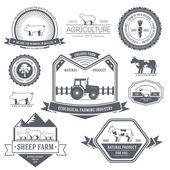 Farm label template of emblem element for your product or design, web and mobile applications with text. Vector illustration with thin lines isolated icons on stamp symbol. — Stock Vector
