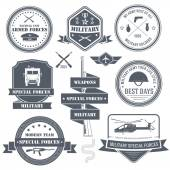 Military set label template of emblem element for your product or design, web and mobile applications with text. Vector illustration with thin lines isolated icons on stamp symbol. — Stock Vector