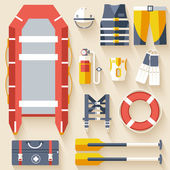 Emergency service paramedic lifeguard equipment tools. On flat style background concept. Vector illustration for colorful template for you design, web and mobile applications — Stock Vector
