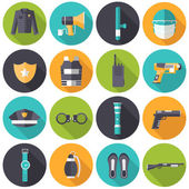 Police uniform and set protection icons on isoleted background. Flat style bright concept. Vector illustration for colorful template for you design, web and mobile applications — Stock Vector