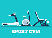 Fitness sport gym exercise equipment workout flat set concept.  Vector illustration for colorful template for you design, web a — Stock Vector