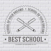 Back to school logo or template on a white brick wall. Vector illustration with thin lines isolated icon for your product or design, web and mobile applications with text stamp. — Stock Vector