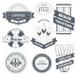 Summer equipment set label template of emblem element for your product or design, web and mobile applications with text. Vector illustration with thin lines isolated icons on stamp symbol. — Stock Vector #71264473