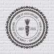 Farm logo or label template  with blurred background on brick wall. Vector illustration with thin lines isolated icons for your product or design, web and mobile applications with text stamp. — Stock Vector #71264703