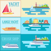 Set of flat yacht, scooter, boat, cargo ship, steamship, ferry, fishing boat, tug, bulk carrier, vessel, pleasure boat, cruise ship with blue sea banners concept. Vector design illustration — Stock Vector