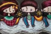 Girls mural in Camden Town — Stock Photo