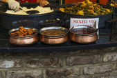 Traditional food and curry exposed in Camden Town — Stock Photo