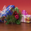 Christmas composition with presents and pine needles 2 — Stock Photo #58155307