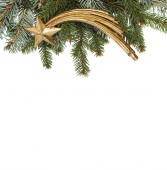Blank Christmas card with pine needles and comet vertical — Stock Photo