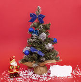 Christmas composition with Santa Claus and adorned tree — Stock Photo