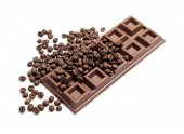 Chocolate bar with coffee beans — Stock Photo